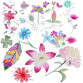 手塗りの水彩画の花のセット