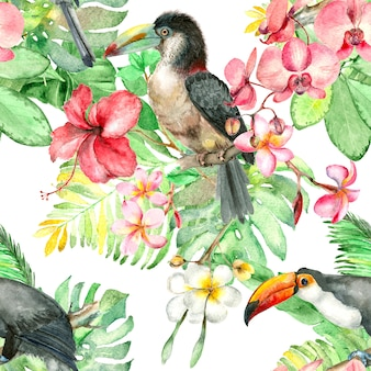 Тропическая птица акварельный рисунок
