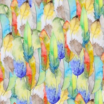 羽と水彩のパターン