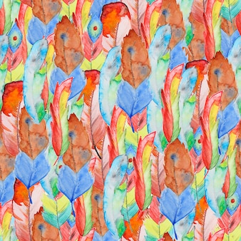 羽とのシームレスな水彩画パターン