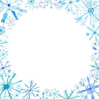 水彩雪片フレームの背景