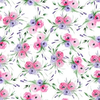 水彩トルコギキョウの花のシームレスパターン