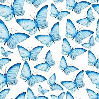 Акварель бесшовный фон с бабочкой
