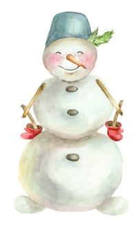 Акварель веселый снеговик