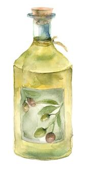 水彩オリーブオイルボトル