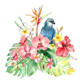 Тропический акварельный букет