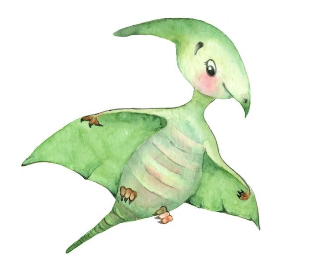 Акварельные динозавры птерозавр