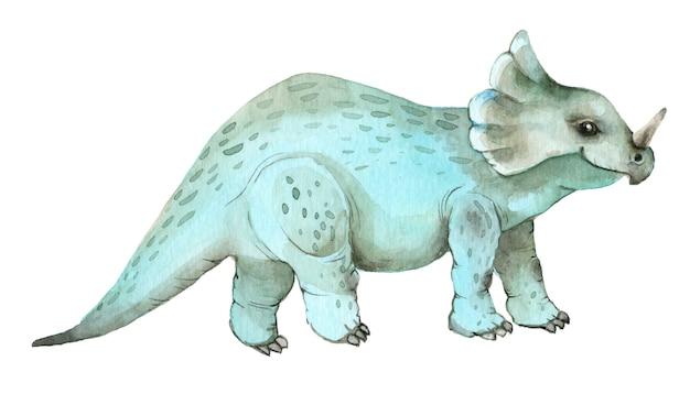 Акварельные динозавры трицератопс
