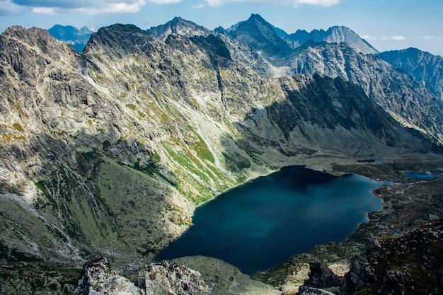 夏の山の中の美しい湖の眺め
