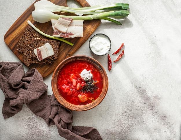 ロシア料理とウクラ料理、赤いビーツのスープ、ボルシチ