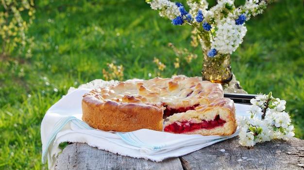 桜と庭の桜のパイ