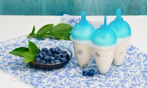 ブルーベリーと自家製アイスクリーム