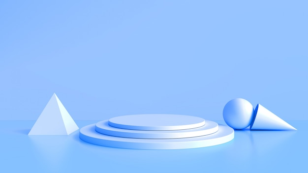 白い製品は青い背景の上に立ちます。抽象的な最小限のジオメトリの概念。