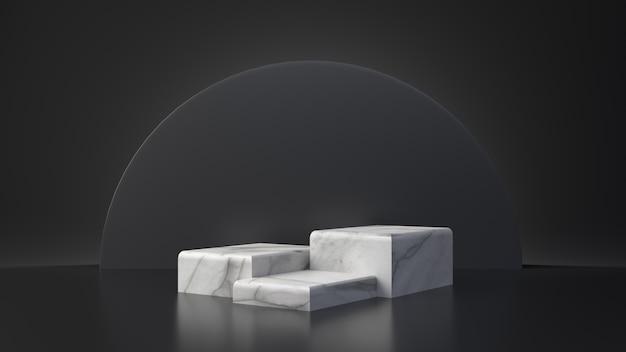 白い大理石製品の長方形テーブルは黒い背景の上に立ちます。抽象的な最小限のジオメトリの概念。スタジオの表彰台プラットフォーム