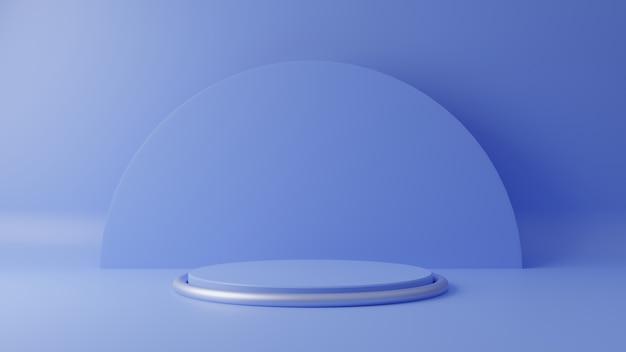 背景に青いパステルカラー製品が立っています。抽象的な最小限のジオメトリの概念。スタジオ表彰台プラットフォームのテーマ