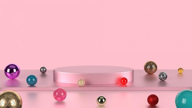 カラフルな大理石の背景を持つピンクのパステルカラーの製品スタンド