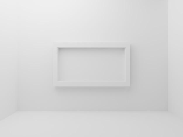 壁の背景の真ん中にモックアップフォトフレームの枠線と白い空の部屋