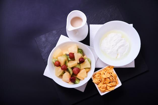 健康的な朝食のクローズアップ