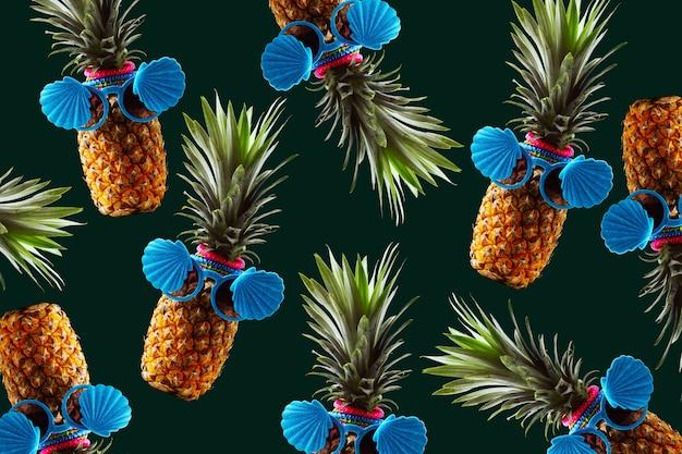 Ретро дизайн концепции тропического стиля. паттерн с битник ананас летнее украшение фон