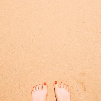 上のコピースペースと砂の上の足