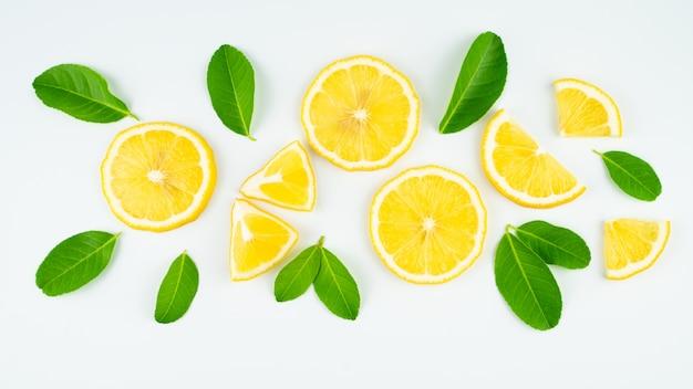 スライスレモンと葉
