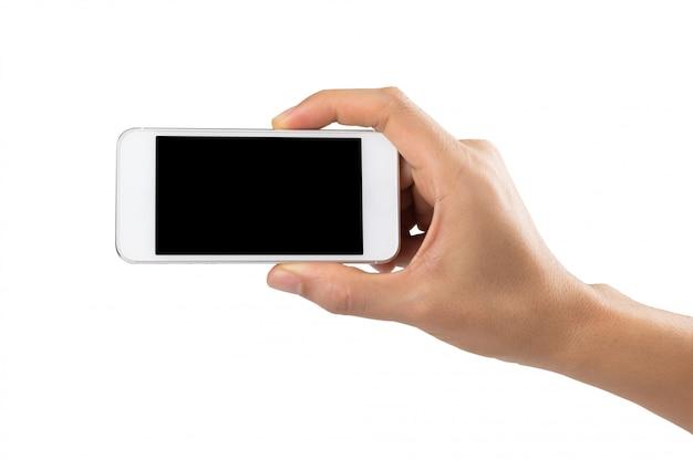 テキストメッセージまたは情報コンテンツの空白コピースペースブラックスクリーンとスマートフォンを持っている男の手