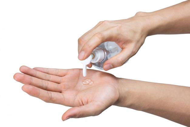 男の手洗い消毒ゲル