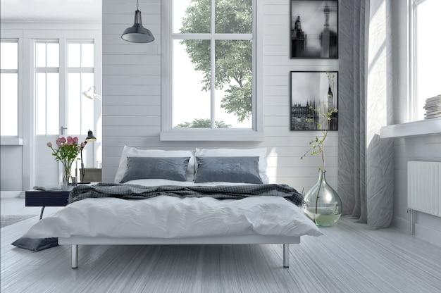 Современный интерьер гостиной с диваном и зелеными растениями