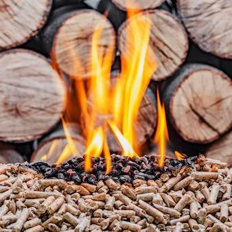 木質ペレットの燃焼