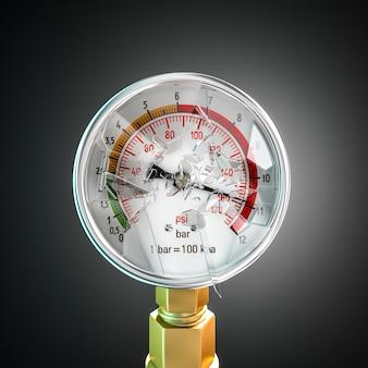 破損した圧力計