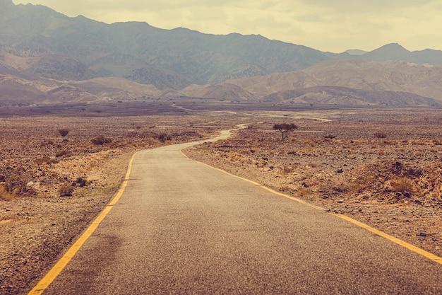 ヨルダン、ワディラムに続く砂漠の道。