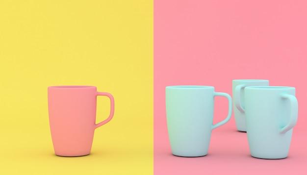 様式化されたピンクとブルーのカップ