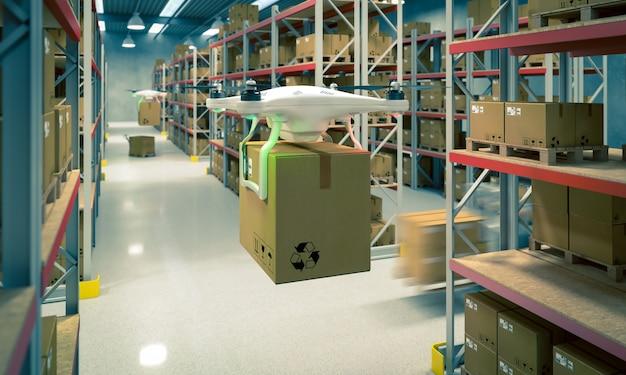 無人機は倉庫で働く