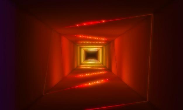 ネオンの光の背景を持つトンネル