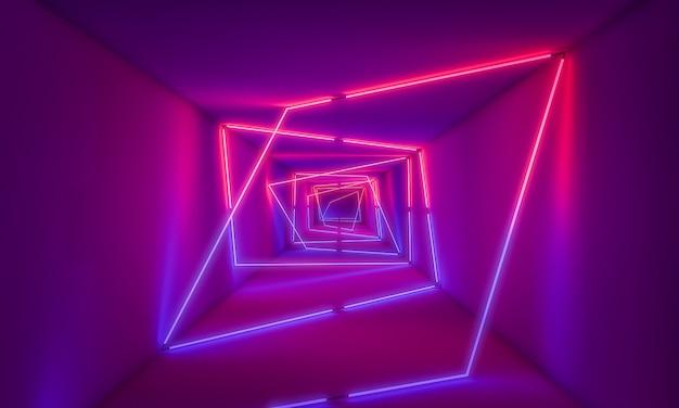 トンネルの背景に紫のネオンの光