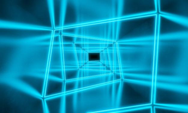青いネオンライトの背景