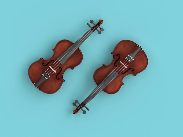 青色の背景にバイオリンのペア。