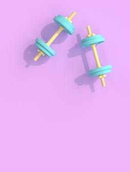 バイオレットに黄色と青のダンベル