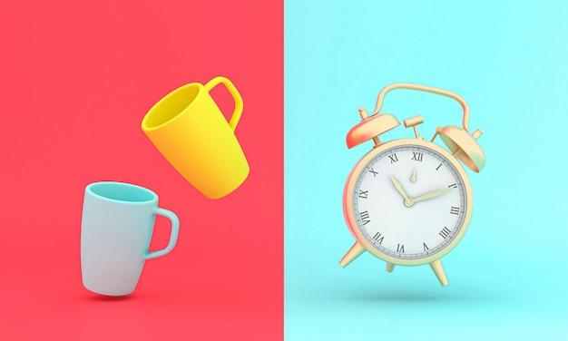 ヴィンテージゴールドの目覚まし時計と様式化されたカップ