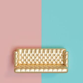 Вид с другого на золотистый тафтинговый диван на синем и розовом