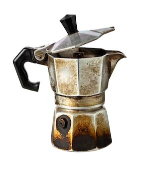 Используемая кофеварка, изолированные на белом