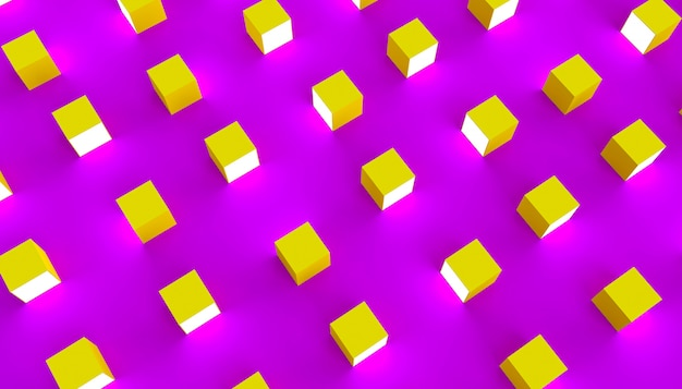 紫色の背景に明るい面を持つ黄色のキューブのグループ。