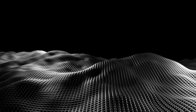 黒の背景に抽象的な波。