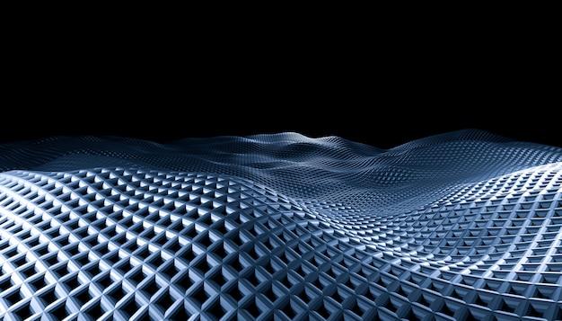 黒の背景に幾何学的な抽象的なグリッド波。