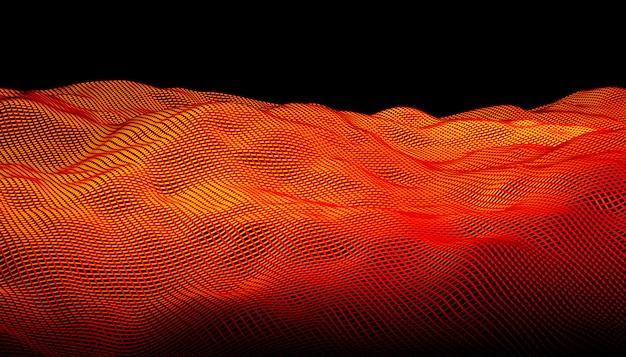 黒い背景にオレンジ色の幾何学的なグリッド抽象的な波。