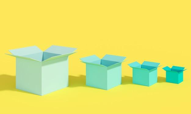 サイズの異なるいくつかの空のオープンボックス