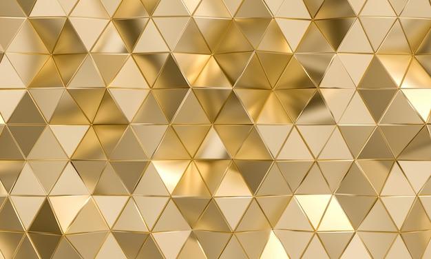 金の三角形の多角形の背景。