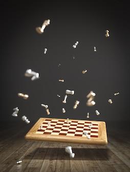 Изображение шахматной доски, падающей на деревянный пол