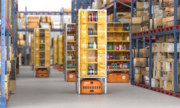 自動ドローンを備えた品物でいっぱいのクラシックな倉庫