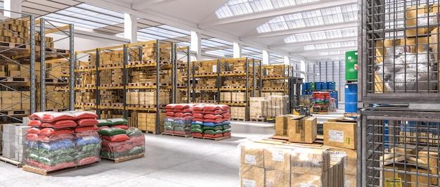 Промышленный склад с полками, полными различных товаров.